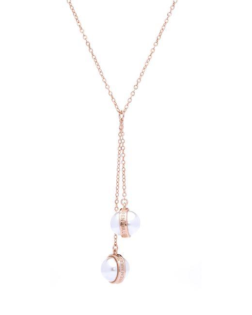 Karen Millen - Metallic Logo Pearl Drop Necklace - Lyst