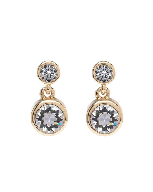 Karen Millen - Metallic Crystal Dot Drop Earring - Gold Colour - Lyst