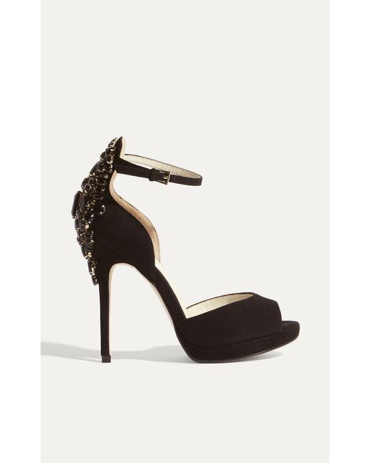 Karen Millen | Jewel Encrusted Suede Sandals - Black | Lyst