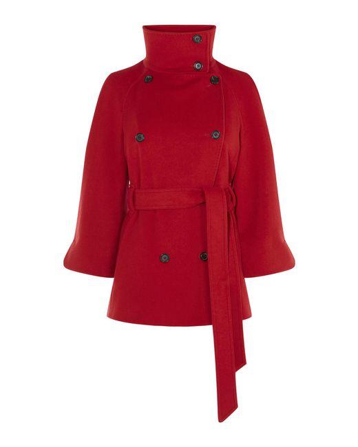 Karen Millen | Cape Wool Coat - Red | Lyst