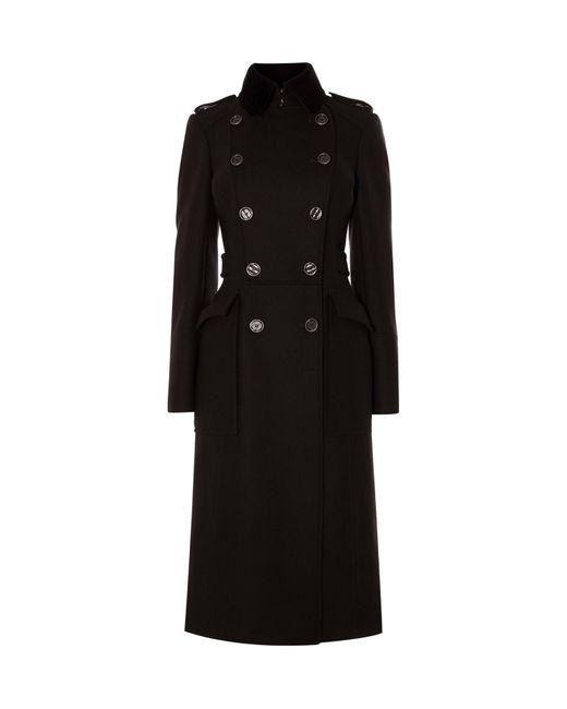 Karen Millen | Blue Military Wool Coat - Navy | Lyst