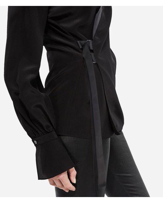 7bf574cfa8f3a ... Karl Lagerfeld - Black K tokyo Silk Wrap Blouse - Lyst ...