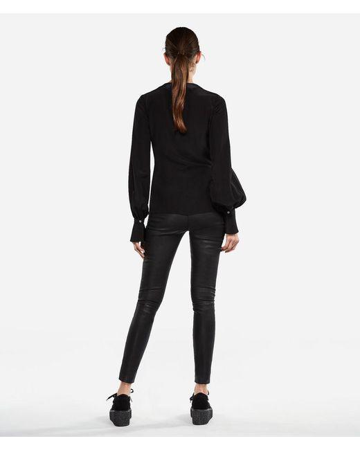 2e2175549d009 ... Karl Lagerfeld - Black K tokyo Silk Wrap Blouse - Lyst