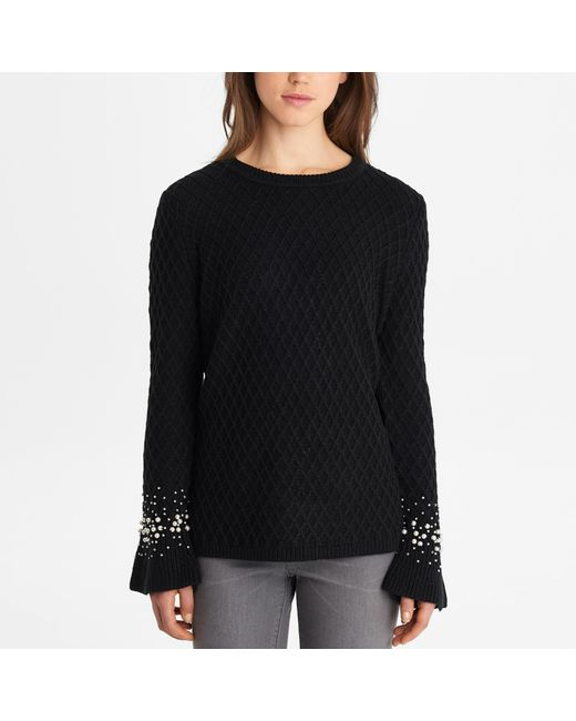 b7aa8465d7 Lyst - Karl Lagerfeld Quilted Pearl Sleeve Sweater in Black