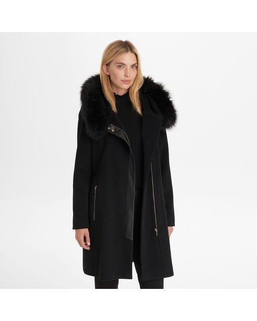 Karl Lagerfeld Black Asymmetrical Zip Wool Coat With Faux Fur Hood
