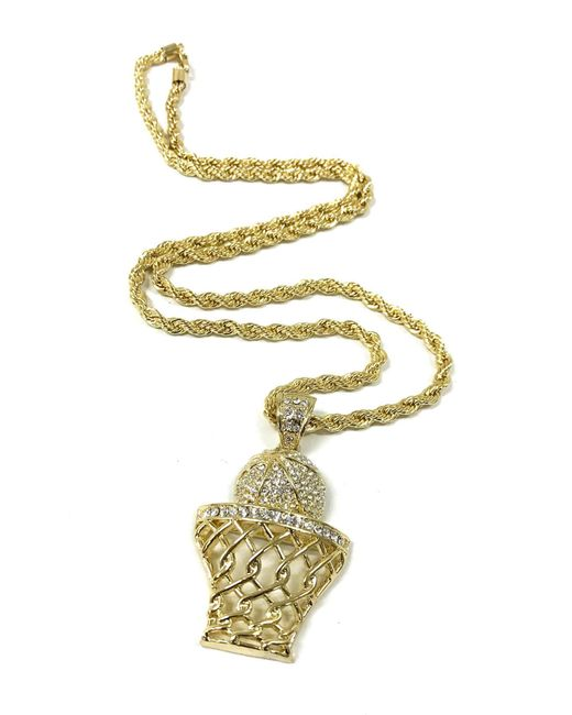 Haste Goods | Metallic Iced Out Basketball Necklace | Lyst