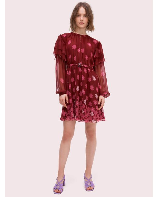 2c69ee37bd0 Kate Spade - Red Floral Kiss Mini Dress - Lyst ...