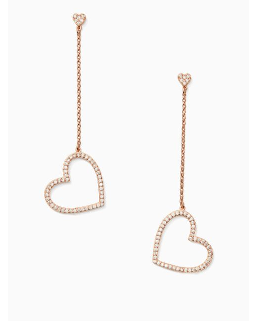 Kate Spade - Metallic Yours Truly Pave Heart Linear Earrings - Lyst