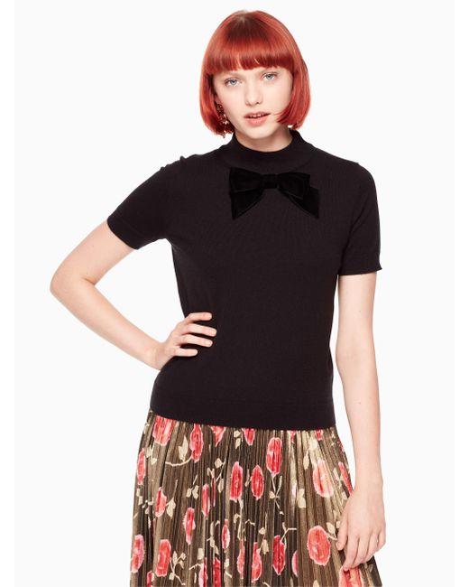 Kate Spade | Black Velvet Bow Sweater | Lyst