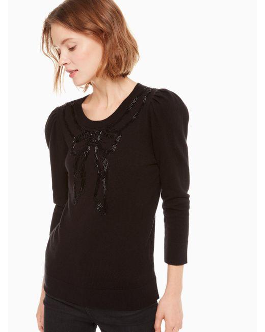 Kate Spade - Black Embellished Bow Sweater - Lyst