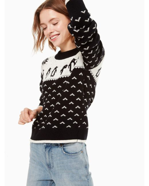 Kate Spade - Black Pullover Mit Pinguinmuster - Lyst