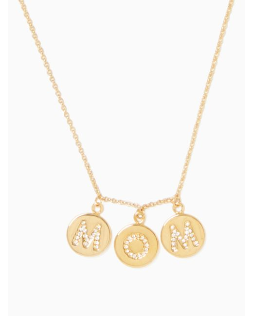 Kate Spade - Metallic Mom Knows Best Pave Mom Charm Necklace - Lyst