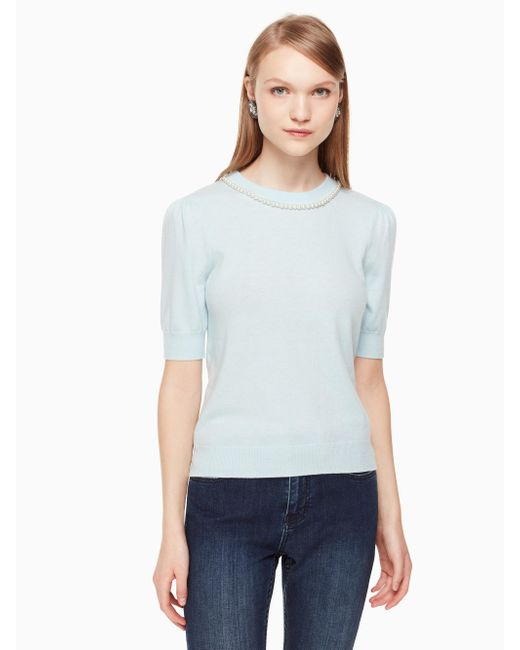 Kate Spade   Blue Pearl Embellished Sweater   Lyst