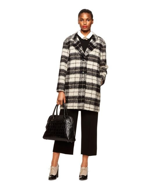 Kate Spade | Black Woodland Check Bow Coat | Lyst