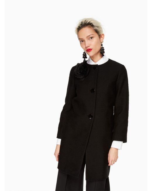 Kate Spade | Black Tweed Corsage Coat | Lyst