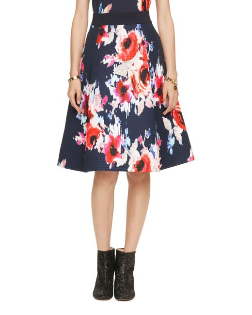 kate spade new york | Multicolor Hazy Floral Midi Skirt | Lyst