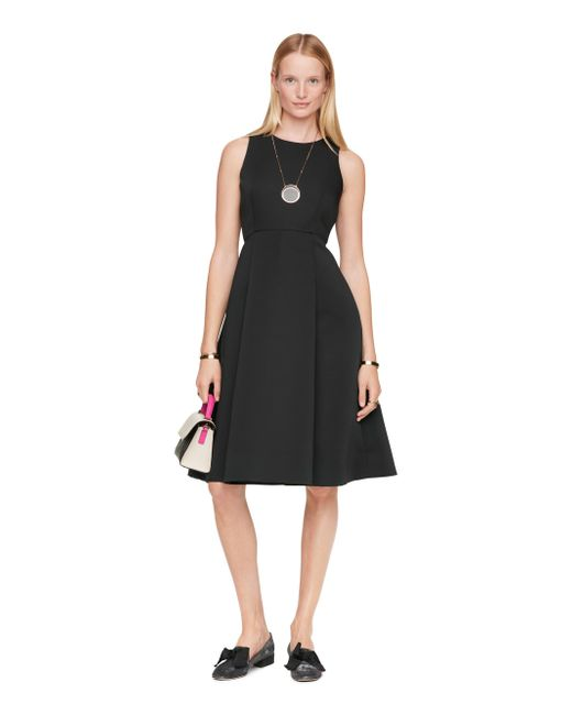 kate spade new york | Black Satin Faille Fit And Flare Dress | Lyst