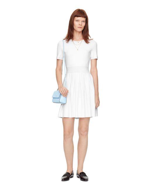 kate spade pleated skirt sweater dress in white fresh