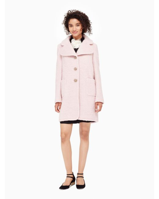 Kate Spade | Pink Jewel Button Wool Coat | Lyst