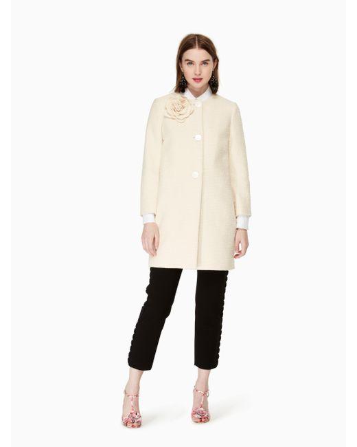 Kate Spade | Natural Tweed Corsage Coat | Lyst