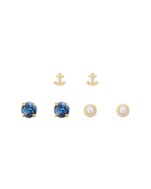 Kate Spade | Multicolor Navy Glitter 3 Piece Stud Set | Lyst