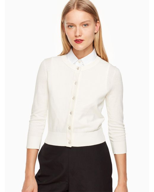 Kate Spade | White Jewel Button Cropped Cardigan | Lyst