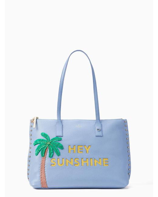 Kate Spade - Blue On Purpose Embellished Studded Leather Tote - Lyst