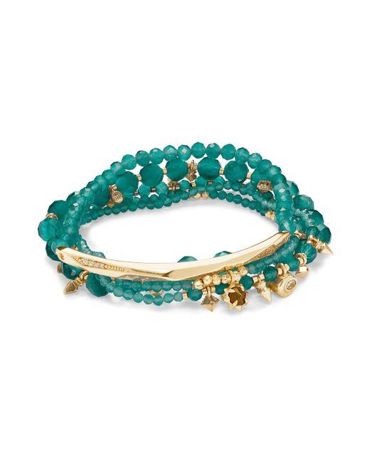 Kendra Scott - Green Supak Gold Beaded Bracelet Set - Lyst