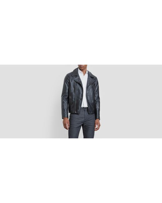 Kenneth Cole Reaction - Black Leather Motorcycle Jacket for Men - Lyst