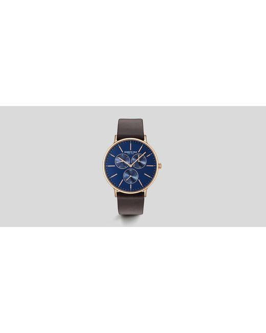 Kenneth Cole - Blue Brown Leather Round Multi-function Watch for Men - Lyst