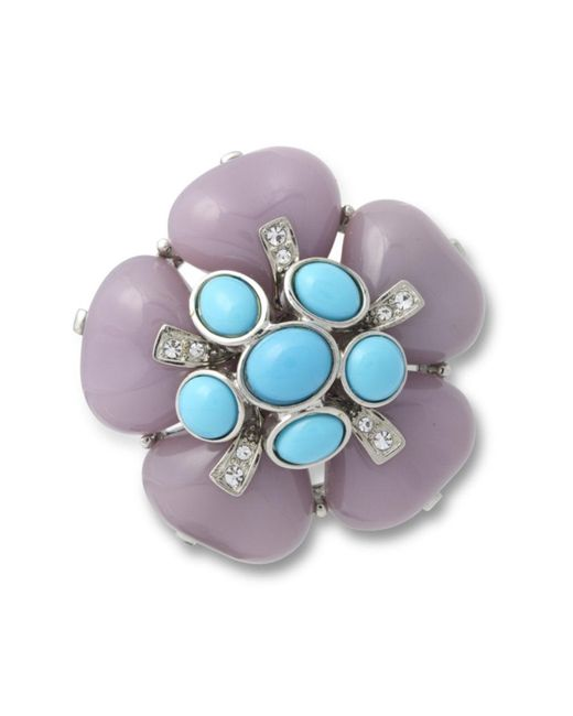 Kenneth Jay Lane | Blue Lavender Flower Brooch | Lyst