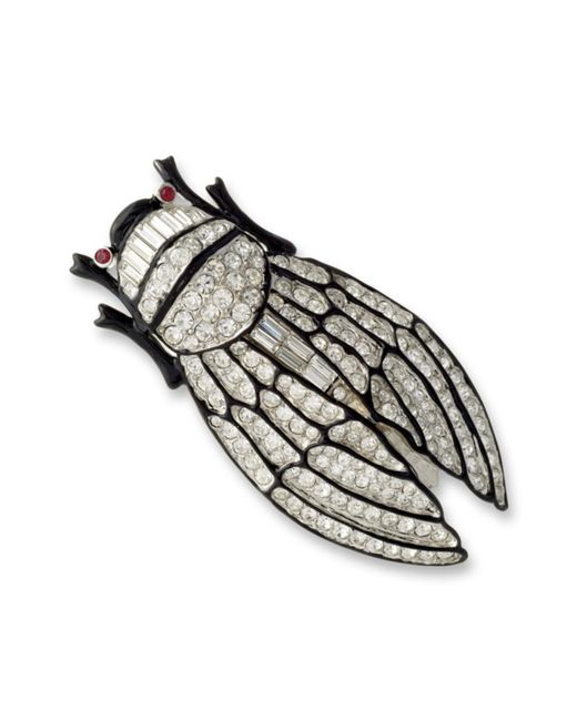 Kenneth Jay Lane | Metallic Crystal Cicada Brooch | Lyst