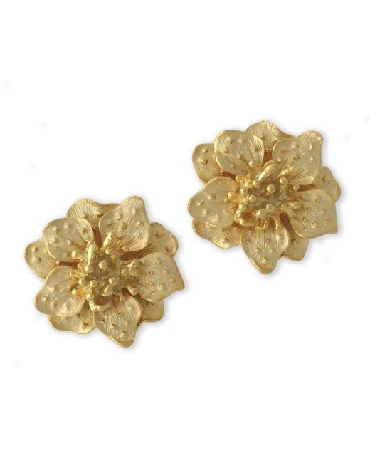 Kenneth Jay Lane | Metallic Satin Gold Dogwood Flower Clip Earring | Lyst