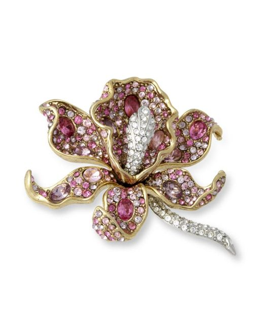 Kenneth Jay Lane | Multicolor Multi Pink Orchid Brooch | Lyst