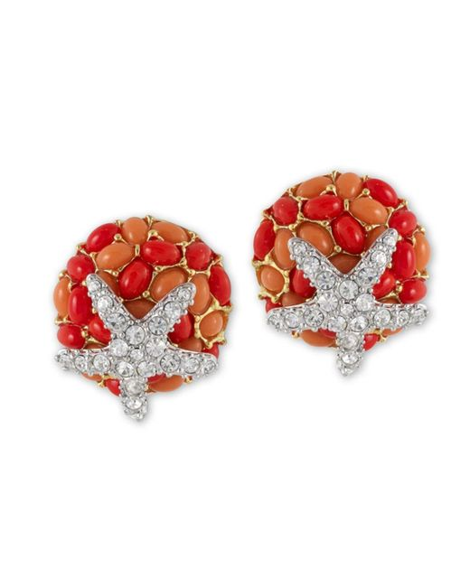 Kenneth Jay Lane | Pink Two Tone Coral And Crystal Starfish Clip Earring | Lyst