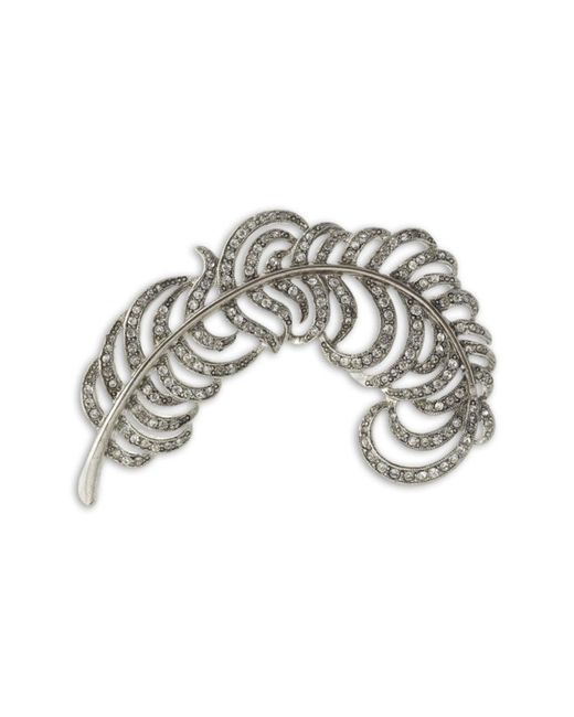 Kenneth Jay Lane | Metallic Crystal Feather Brooch | Lyst