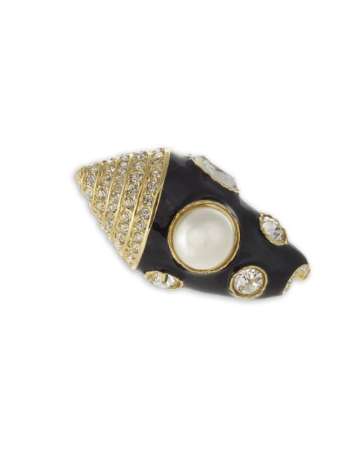 Kenneth Jay Lane | Metallic Black Seashell Brooch | Lyst