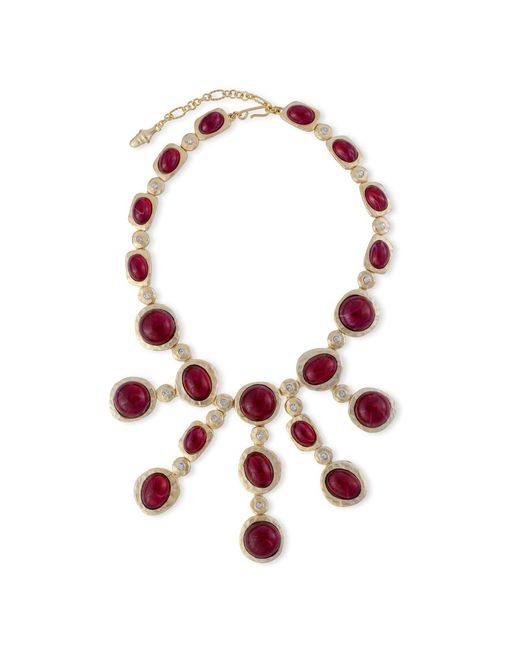Kenneth Jay Lane | Red Ruby Cabochons Necklace | Lyst