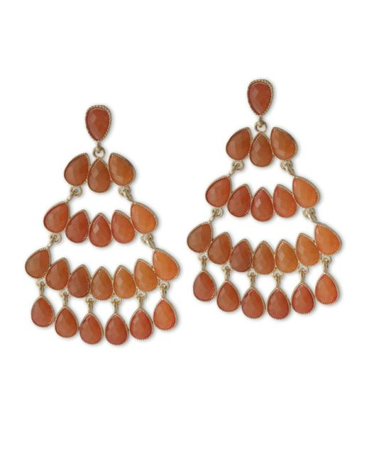 Kenneth Jay Lane | Orange Coral Chandelier Pierced Earring | Lyst