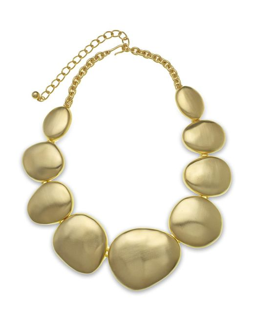 Kenneth Jay Lane | Metallic Satin Gold Disk Necklace | Lyst