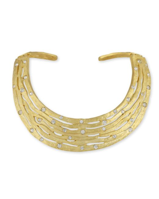 Kenneth Jay Lane | Metallic Crystal Studded Collar Necklace | Lyst
