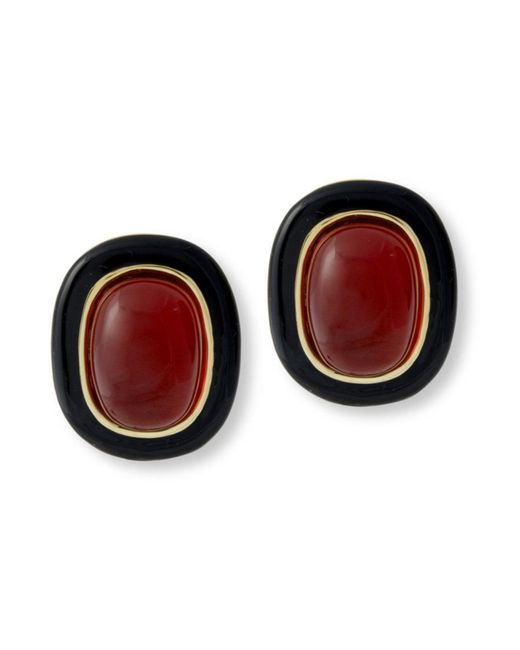 Kenneth Jay Lane | Red Black And Ruby Clip Earring | Lyst