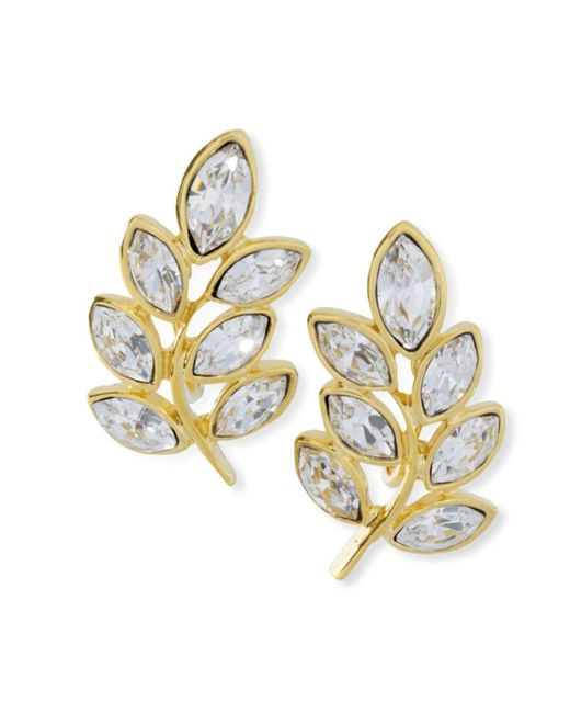 Kenneth Jay Lane | Metallic Crystal Leaf Clip Earring | Lyst