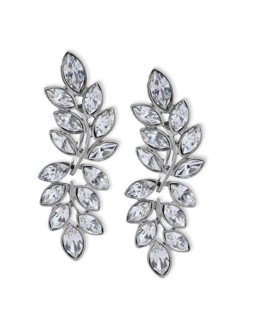Kenneth Jay Lane | Metallic Silver Finish Crystal Clip Earring | Lyst