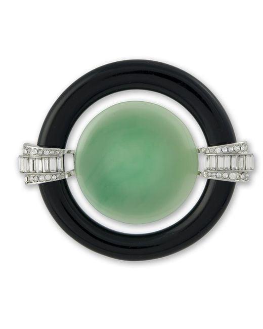 Kenneth Jay Lane | Black And Jade Art Deco Brooch | Lyst