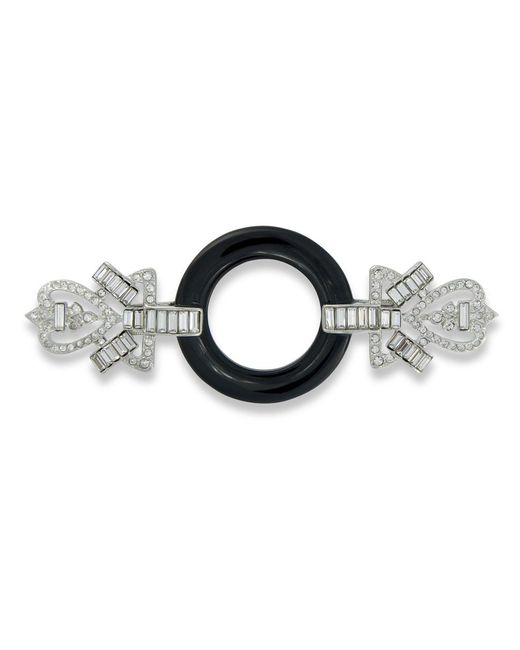 Kenneth Jay Lane | Black And Crystal Art Deco Brooch | Lyst