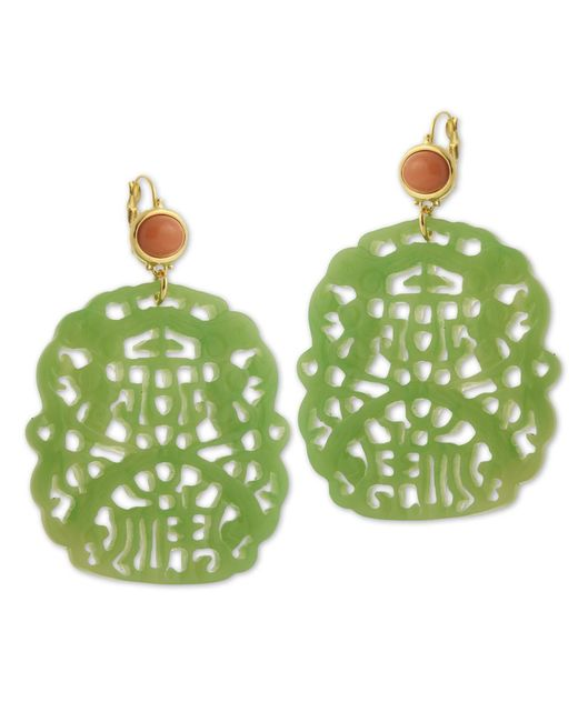 Kenneth Jay Lane | Green Carved Jade Earring | Lyst