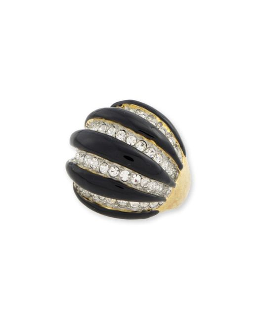 Kenneth Jay Lane | Black And Crystal Domed Ring | Lyst