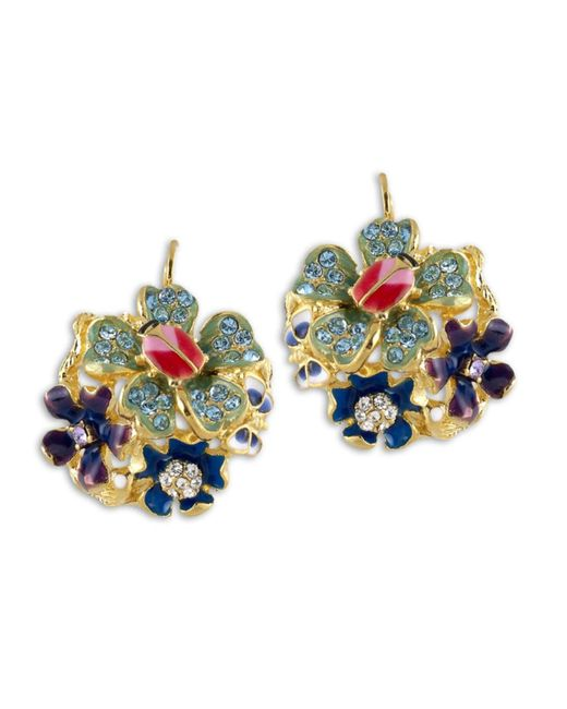 Kenneth Jay Lane | Multicolor Cool Multi Pastel Flower Eurowire Earring | Lyst