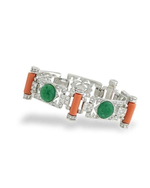 Kenneth Jay Lane | Pink Jade And Coral Art Deco Bracelet | Lyst